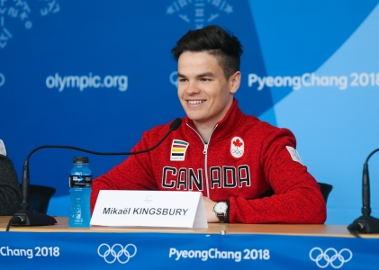 Olympic Champion Mikael Kingsbury addresses the media. (Photo: Greg Kolz)