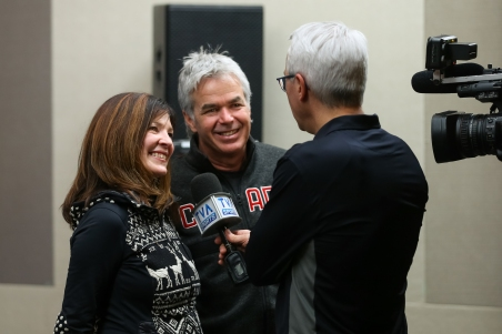 Mik's parents, Julie and Robert, are interviewed by TVA Sports. (Photo: Greg Kolz)
