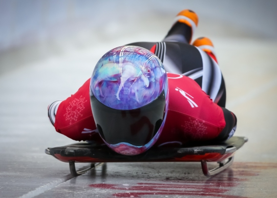 Canada's Mirela Rahneva speeds down the track during a skeleton training session. (Photo: Greg Kolz)
