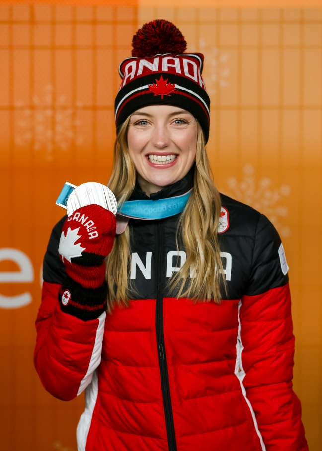 Canadian freestyle skier Justine Dufour-Lapointe shows off her Olympic silver medal. (Photo: Greg Kolz)