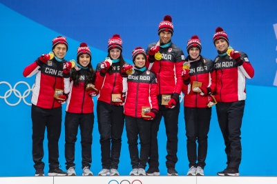 Canada's figure skaters own the podium following the Team Event. (Photo: Greg Kolz)