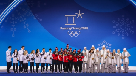 The medallists in the figure skating Team Event. (Photo: Greg Kolz)