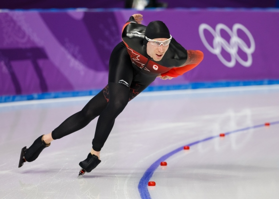 Canada's Ted-Jan Bloemen competing in the Men's 5,000m speed skating final. (Photo: Greg Kolz)