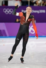 Ted-Jan Bloeman salutes the crowd following his race in the Men's 5,000m speed skating final. (Photo: Greg Kolz)