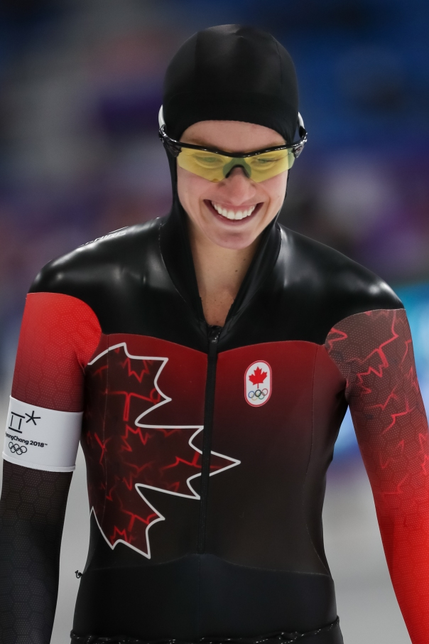 Canada's Brianne Tutt flashes a smile before competing in the Ladies' 1,500m race. (Photo: Greg Kolz)