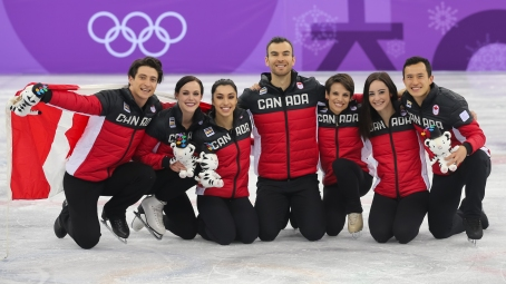 Canada's figure skaters celebrate their victory in the Team Event. (Photo: Greg Kolz)