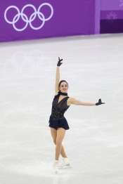 Kaetlyn Osmond channelled Edith Piaf during the Figure Skating Team Event. (Photo: Greg Kolz)
