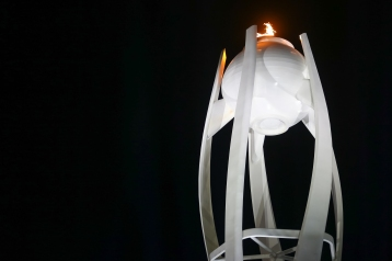The Olympic Cauldron shines brightly at the PyeongChang Olympic Stadium. (Photo: Greg Kolz)