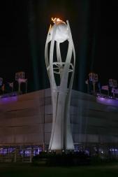 The Olympic Cauldron shines brightly at the PyeongChang Olympic Stadium. (Photo: Greg Kolz)