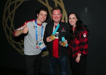 Me alongside Olympic Champions Scott Moir and Tessa Virtue at Canada Olympic House.