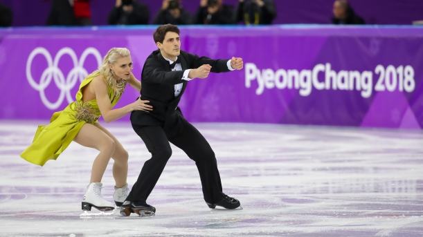 February 20, 2018: Piper Gillis & Paul Poirier performing their free dance during the ice dance competition. (PHOTO: Greg Kolz)