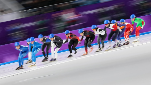 February 24, 2018: Speed skater Ivanie Blondin (#3) competing in the ladies' mass start event. (PHOTO: Greg Kolz)