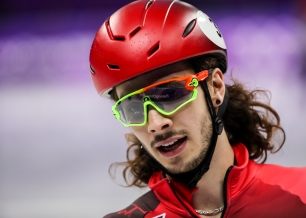 February 22, 2018: Short track speed skater Samuel Girard reflects during warm-up ahead of his race at Gangneung Ice Arena. (PHOTO: Greg Kolz)