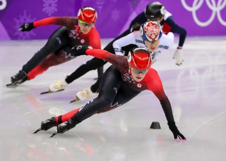 February 22, 2018: Short track skater Kim Boutin competing in the ladies' 1000m final. (PHOTO: Greg Kolz)