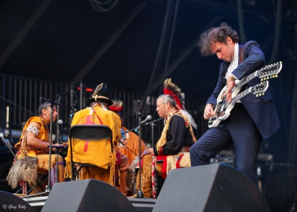 Yonatan Gat and The Eastern Medicine Singers performing at RBC Ottawa Bluesfest on July 10, 2019. Photo by Greg Kolz / Bluesfest