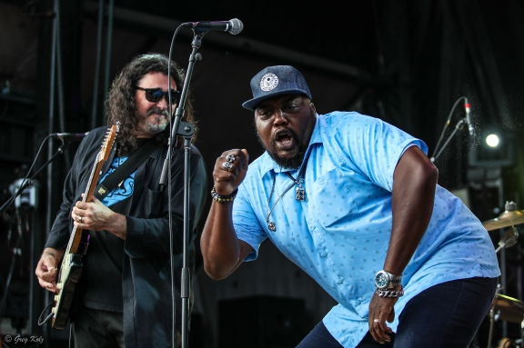 Sugaray Rayford performing at RBC Ottawa Bluesfest on July 14, 2019. Photo by Greg Kolz / Bluesfest